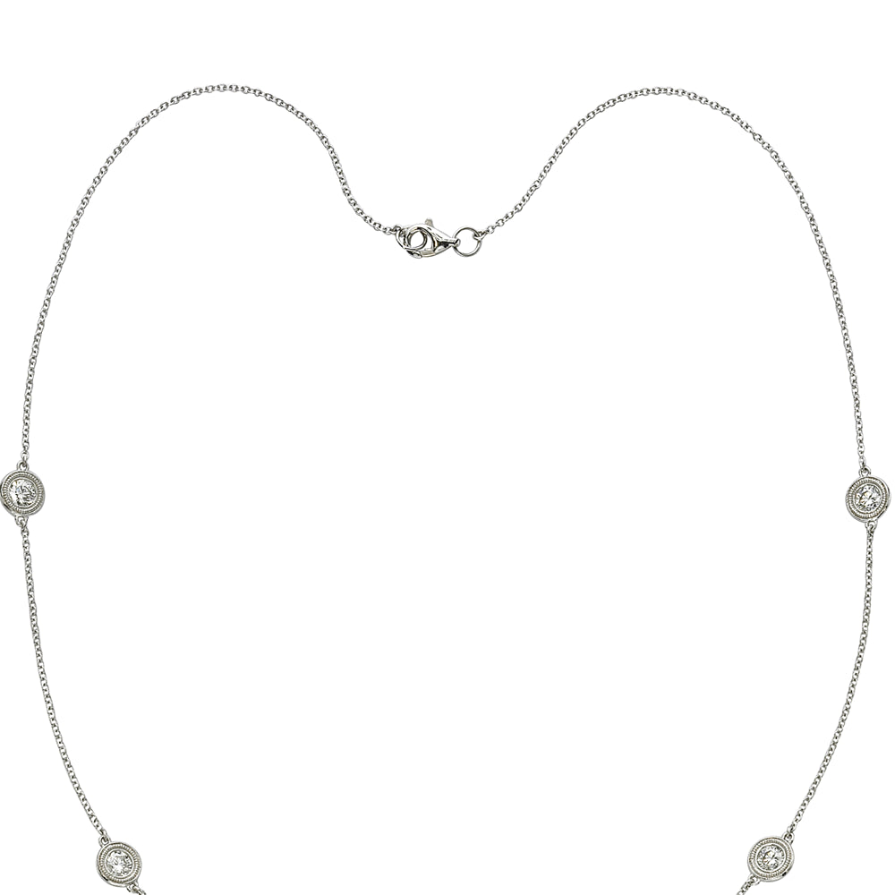 Six Diamond By The Yard Necklace with Milgrain 14K