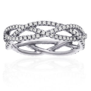Three Row Woven Crossover Diamond Eternity Wedding Band Ring 14K White Gold