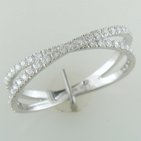 Diamond Crossover Band Ring Two Rows in 14K White Gold