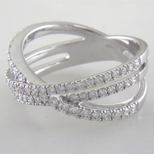 Diamond Crossover Band Ring Three Rows in 14K White Gold
