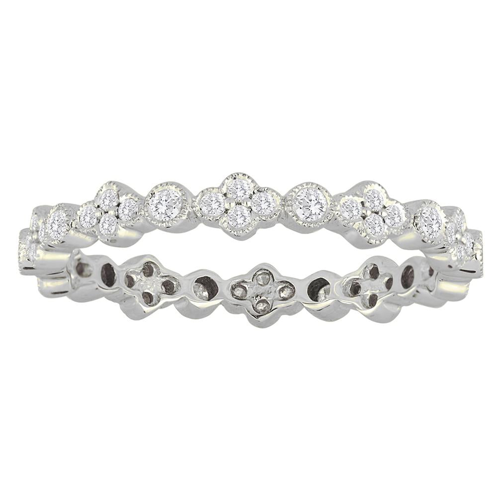 Stackable Bezel Set Diamond Wedding Eternity Band Ring with Milgrain