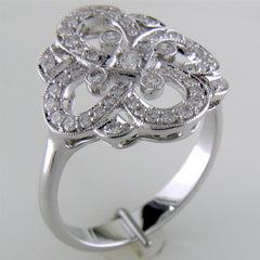 Right Hand Clover Swirl Diamond Ring in 14K White Gold