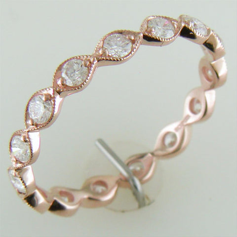Diamond Leaf Eternity Milgrain Wedding Band Ring in 14K Rose Gold