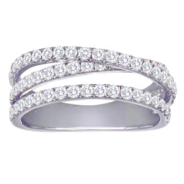 Diamond Crossover Band Ring Three Offset Rows in 14K White Gold