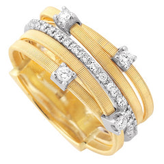 Marco Bicego 18 karat yellow gold 5-row Goa ring with one row of diamonds and 4 scattered diamonds AG270