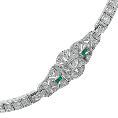 Estate Art Deco Bracelet with Filigree Diamonds & Emeralds 18K White Gold