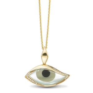 Kabana Kalo Mati 14k Yellow Gold Evil Eye Diamond Pendant with Grey Mother of Pearl Inlay