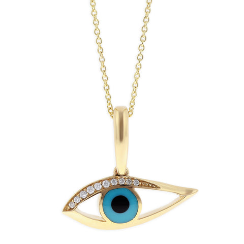 Kabana Kalo Mati 14k Yellow Gold Evil Eye Diamond Pendant with Sleeping Beauty Turquoise Inlay GPCF499OXT