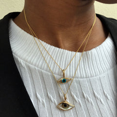 Kabana Kalo Mati 14k Yellow Gold Evil Eye Diamond Pendant with Grey Mother of Pearl Inlay GPCF4850XMZMW