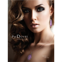 "Doves ""Viola"" Elongated Amethyst over Mother of Pearl Diamond Pendant Necklace 18K Rose Gold"
