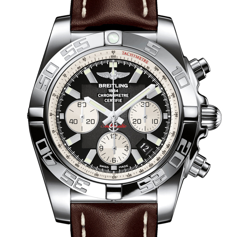 Certified Pre-owned Breitling Chronomat 44 Steel Polished Onyx Black Watch AB011012/B967 Steel