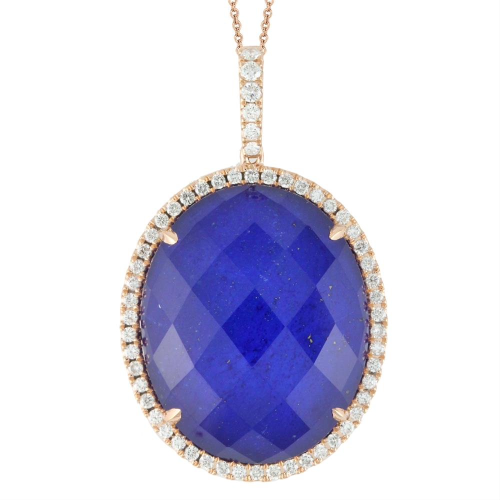 "Doves Blue ""Royal Lapis"" & Diamond Oval Rose Gold Pendant Necklace"