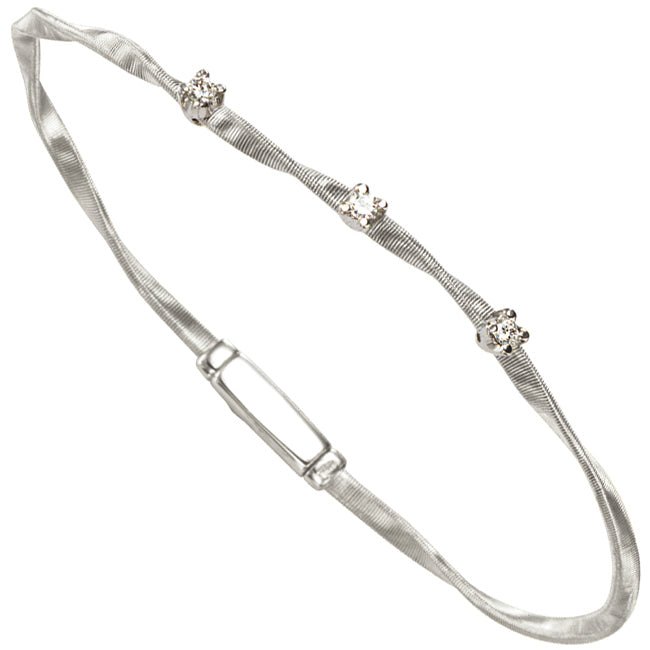 Marco Bicego Marrakech Three Diamond Single Strand Bracelet White Gold BG337 B W