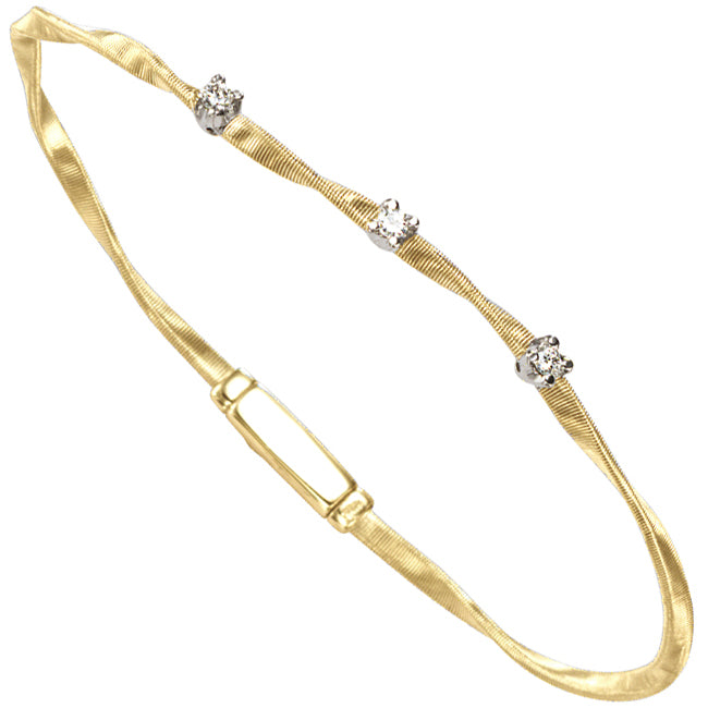 Marco Bicego Marrakech Three Diamond Single Strand Yellow Gold Bracelet  BG337 B YW