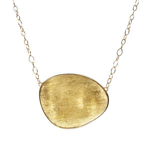 "Marco Bicego Lunaria Large Oval 18K Yellow Gold Necklace Pendant 17.5""  CB1770"
