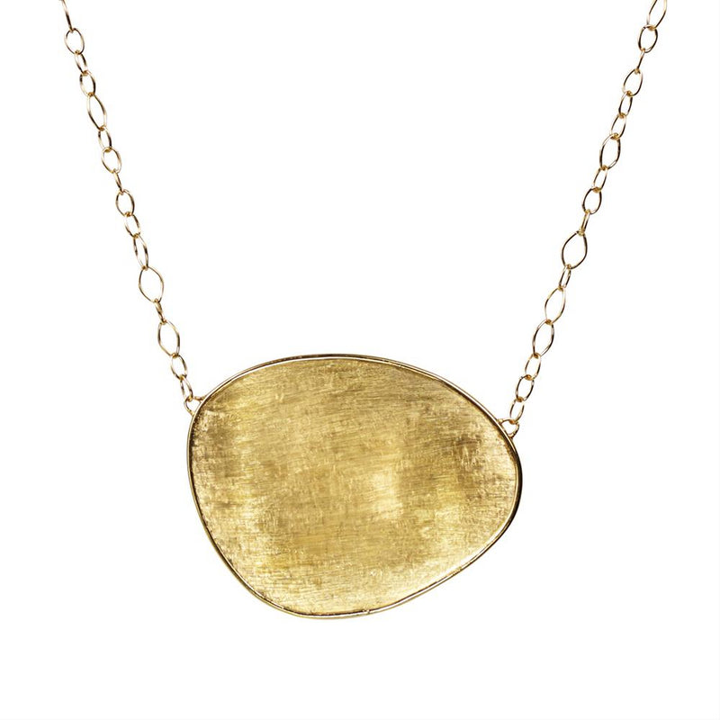 Marco Bicego Lunaria Large Oval 18K Yellow Gold Necklace Pendant 17.5