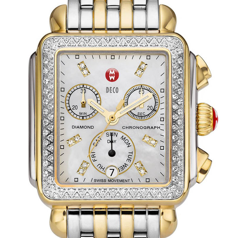 Michele Deco Chronograph Mother of Pearl Diamond Markers and Bezel Two-Tone Watch