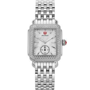 Michele Deco 16 Mother of Pearl Diamond Bezel Seconds Window Watch