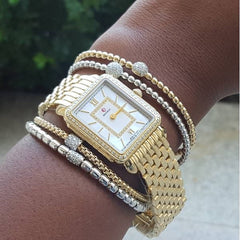 Hulchi Belluni Bracelet with a Single Pave Diamond barrel Bead White Gold Stretch Stackable
