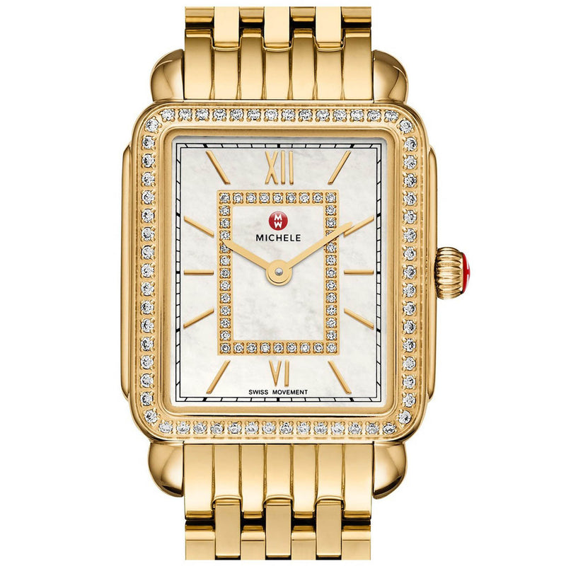 Michele Deco II Mother of Pearl Diamond Dial and Bezel Gold-Tone Watch