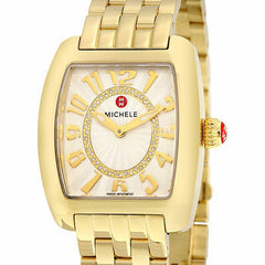 Michele Urban Mini White Guilloche Dial Gold-Plated Watch