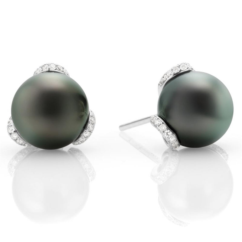 Mikimoto Black South Sea 10mm Pearl & Diamond Embrace Earrings