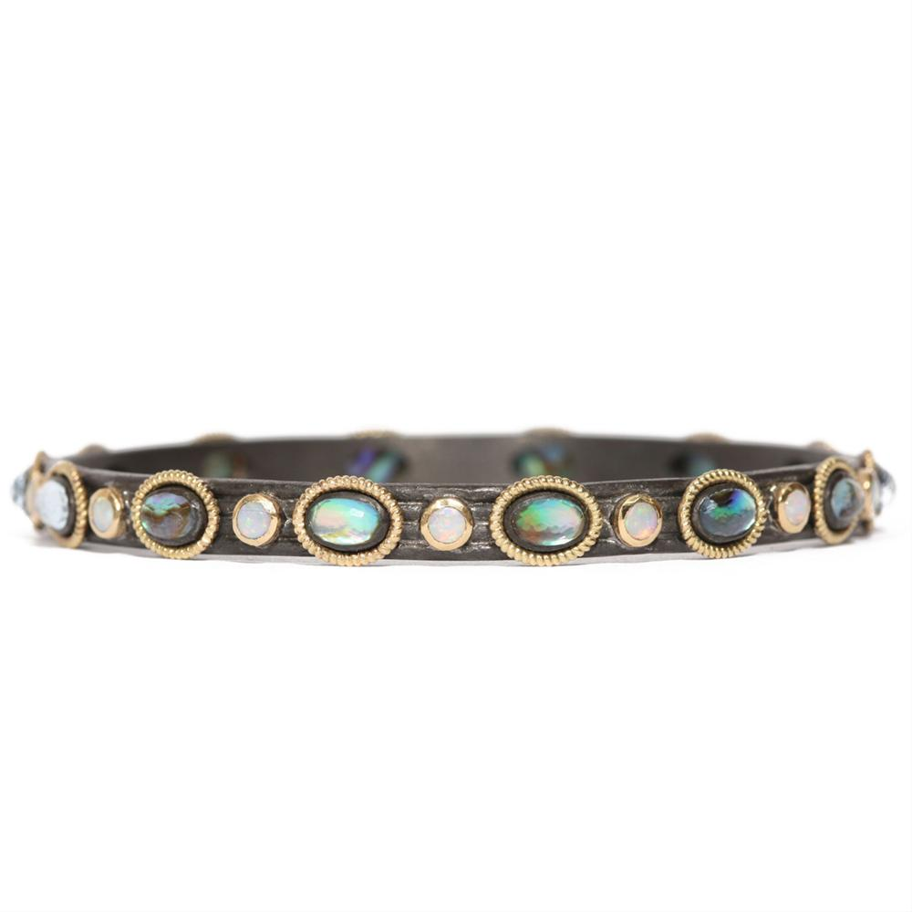 Armenta 18 Karat Yellow Gold, Oxidized Sterling Silver, Opal & Blue Mother of Pearl Bangle Bracelet