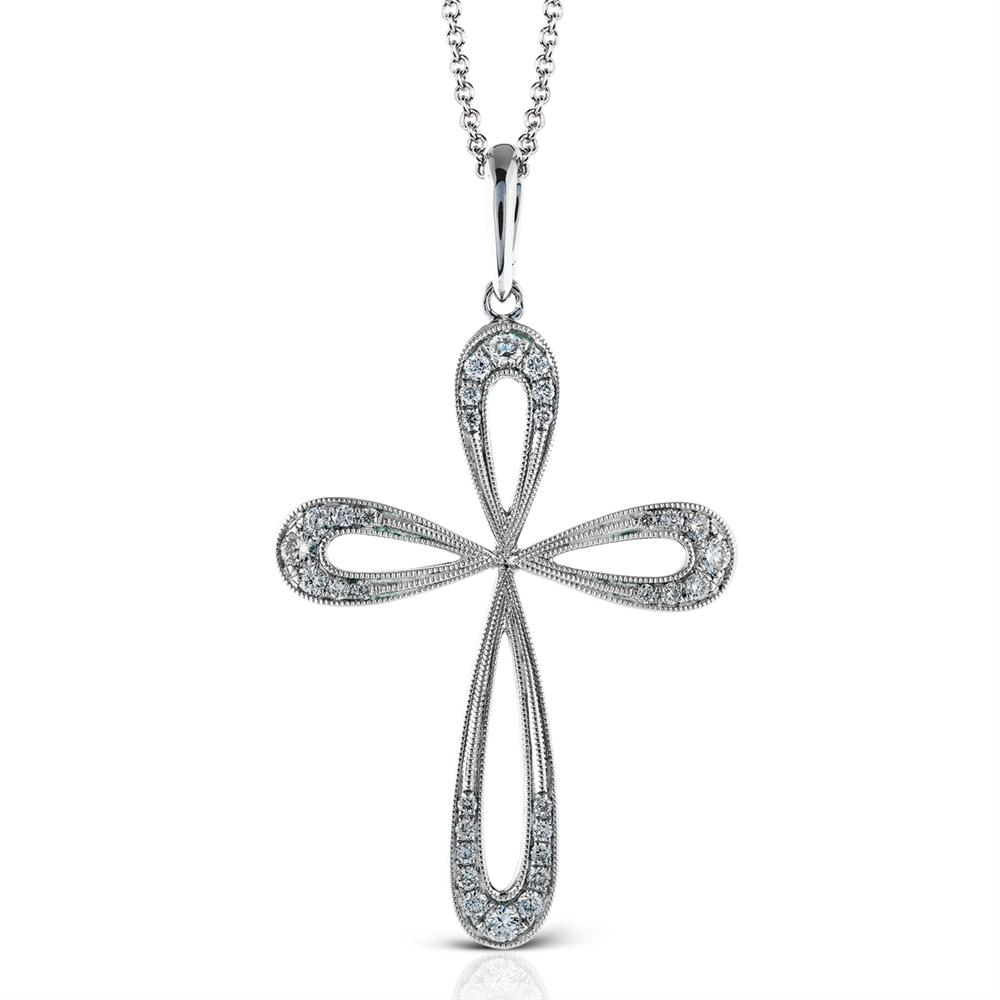 Simon G. White Gold Diamond Cross Modern Design Pendant Necklace TP294