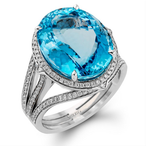 Simon G. Aquamarine Cocktail Ring with Diamonds in White Gold MR2471