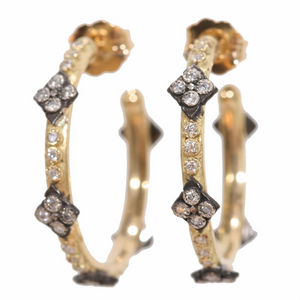 Armenta Yellow Gold Midnight Cravelli Diamond Hoop Earrings Small E2515