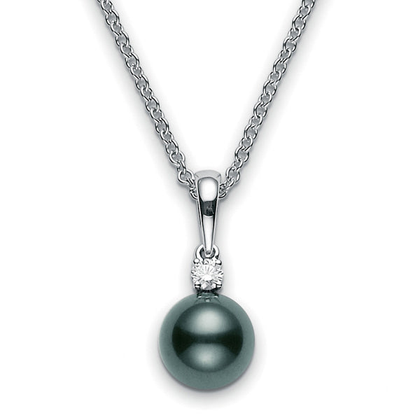 Mikimoto Black South Sea 8mm Pearl & Diamond Pendant Necklace White Gold
