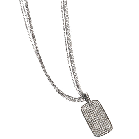 Dana Kellin Diamond Dog Tag Pendant Necklace Multistrand Oxidized Silver
