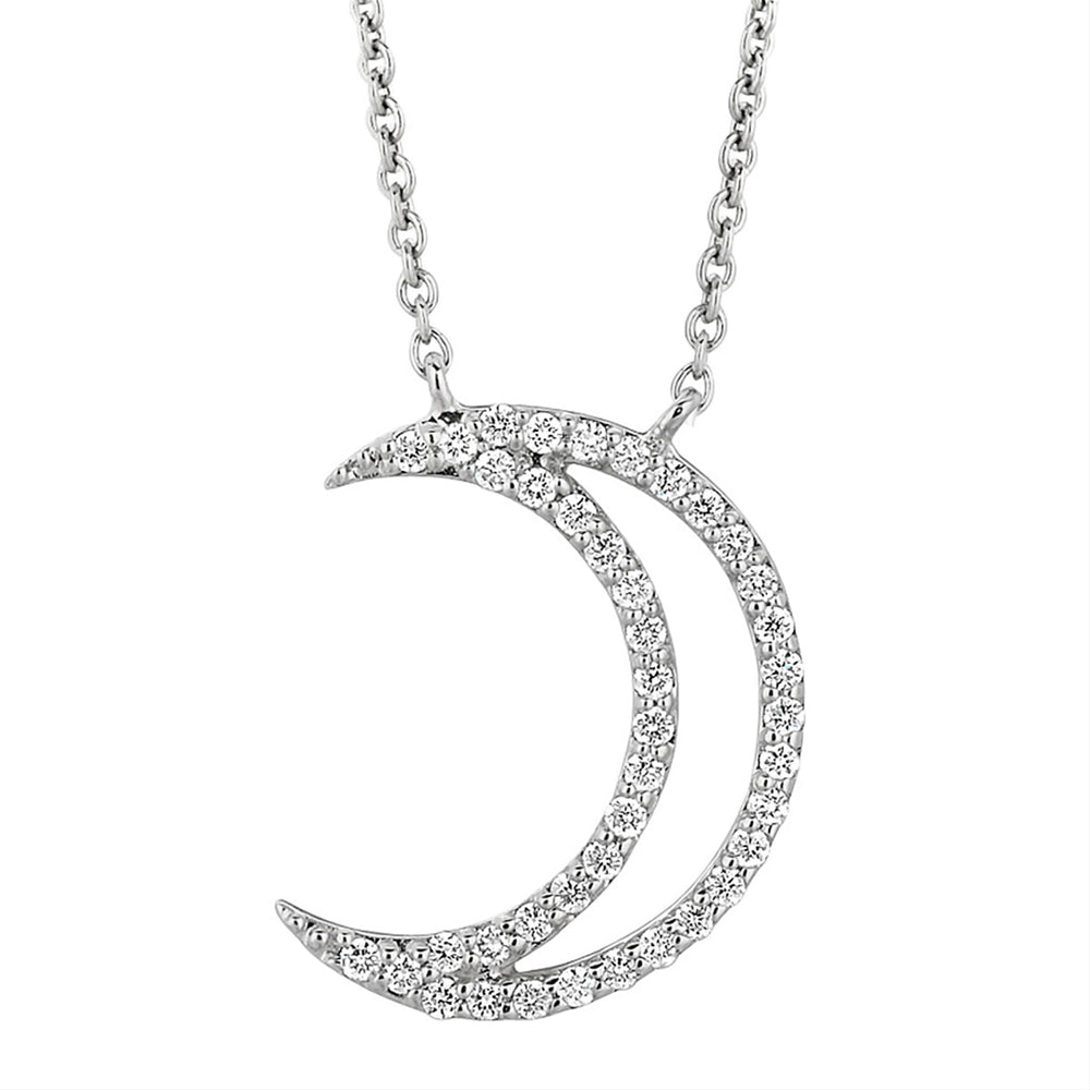 A. Link 18k White Gold Small Diamond Crescent Moon Pendant Necklace