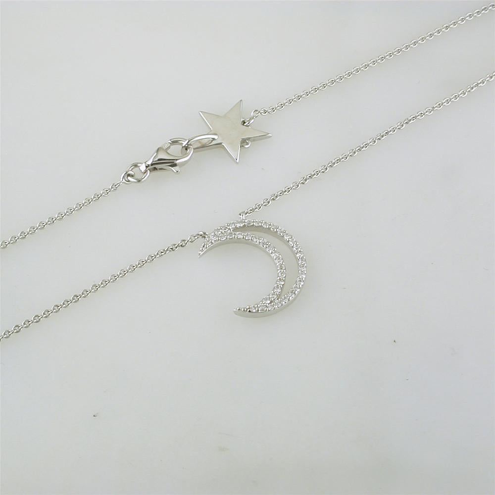 A. Link 18k White Gold Diamond Crescent Moon Pendant Necklace