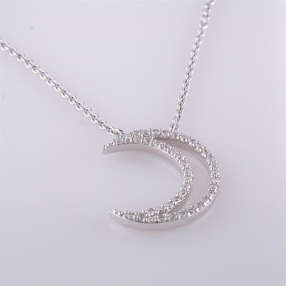 A. Link 18k White Gold Small Diamond Crescent Moon Pendant Necklace with Lobster Claw Clasp