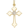14k Yellow Gold Cross with a Diamond in Center