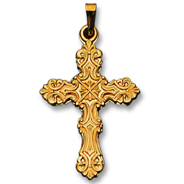 14k Yellow Gold Fancy Design Cross Pendant