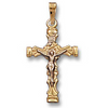 14k Yellow gold Pierced Crucifix