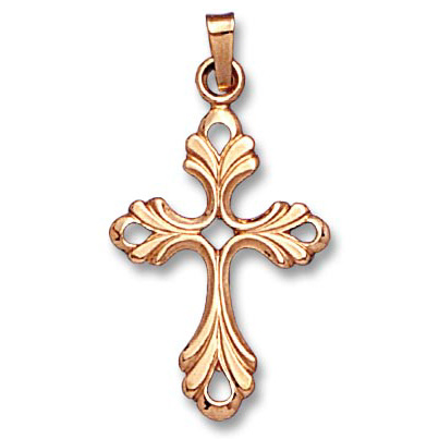 14k Yellow Gold Fancy Pierced Cross Charm Pendant