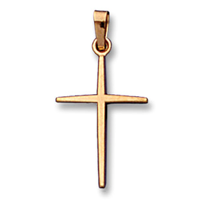 14k Yellow Gold Plain Cross Charm Pendant