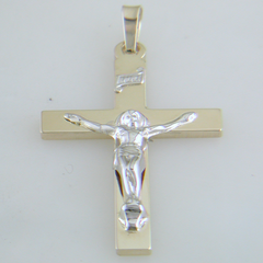 14k Yellow Gold Double Weight Crucifix Made in USA