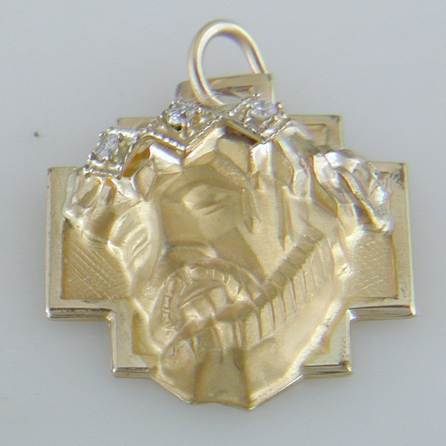 14k Yellow Gold 3D Jesus Head