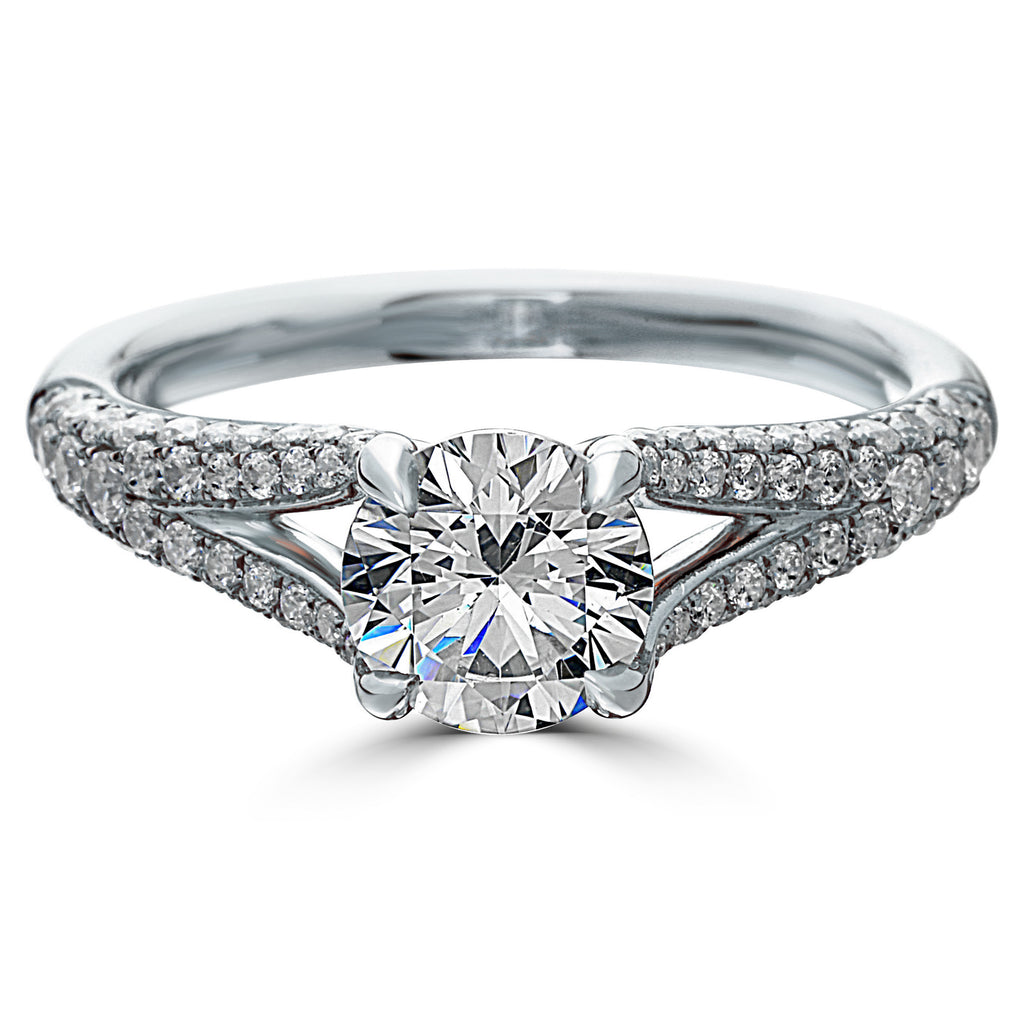 Point of Love Round Brilliant 1 Carat Diamond Split Shank Platinum Engagement Ring