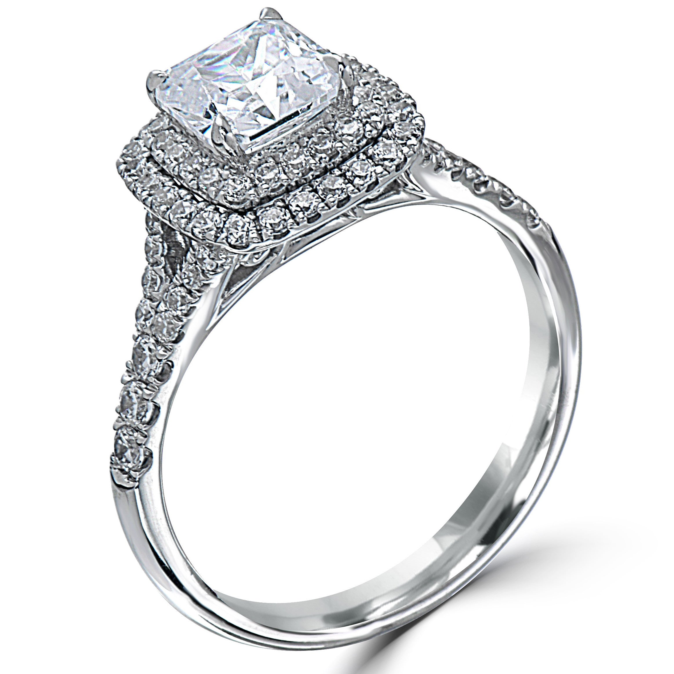 custom diamond ring white cut engagement setting brilliant rings gold karat jewellerey pave in