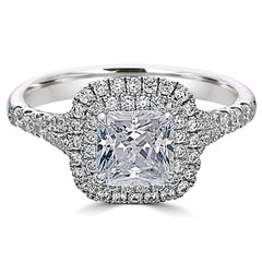 Point of Love Square Brilliant Cut 1 1/2 Carat Diamond Double Halo Platinum Engagement Ring