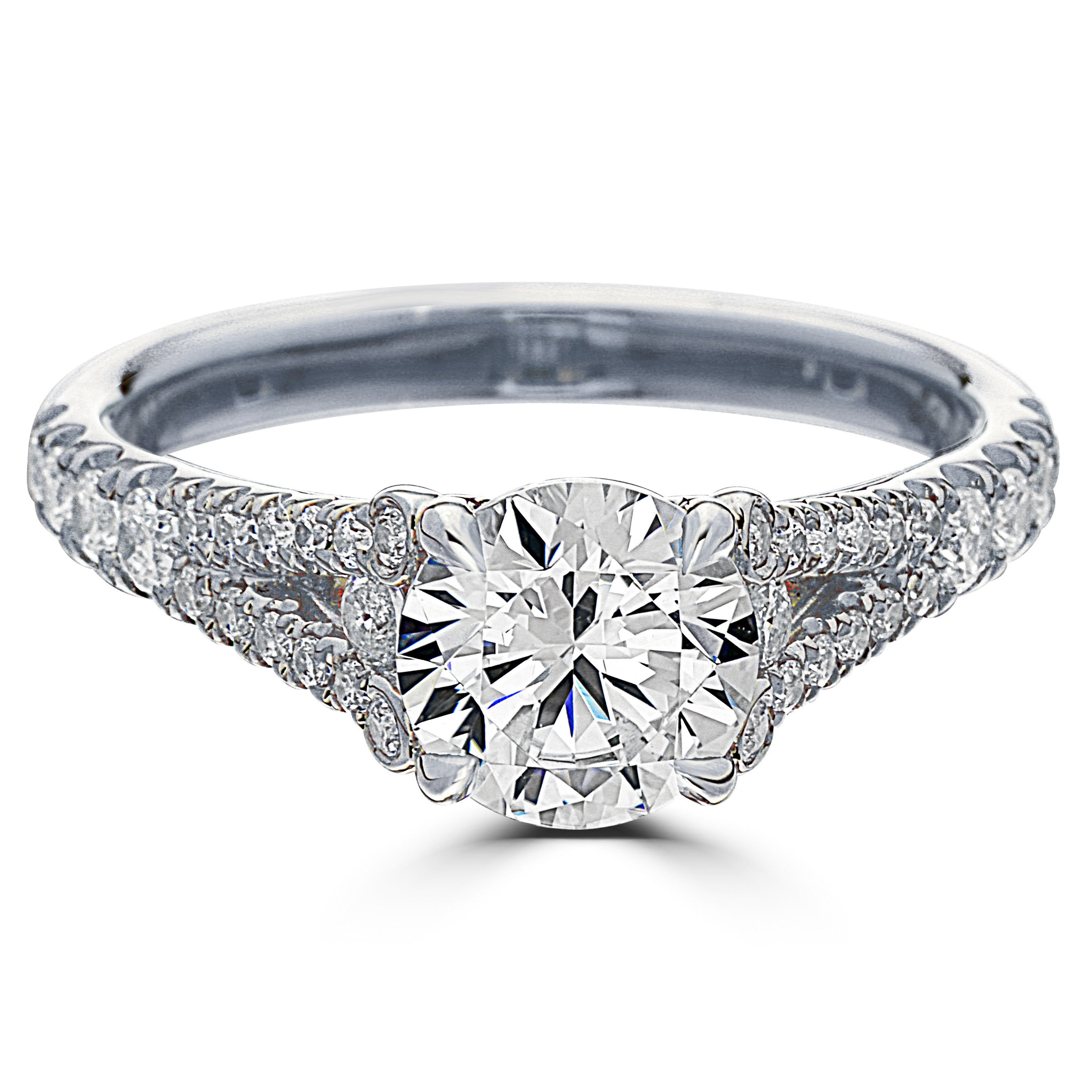 Point of Love Round Brilliant 1.5 Carat Diamond Split Shank Platinum  Engagement Ring 2ecb3cd39