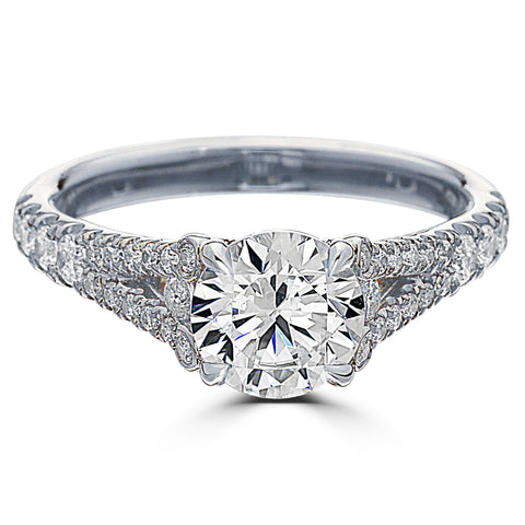 Point of Love Round Brilliant 1.5 Carat Diamond Split Shank Platinum Engagement Ring