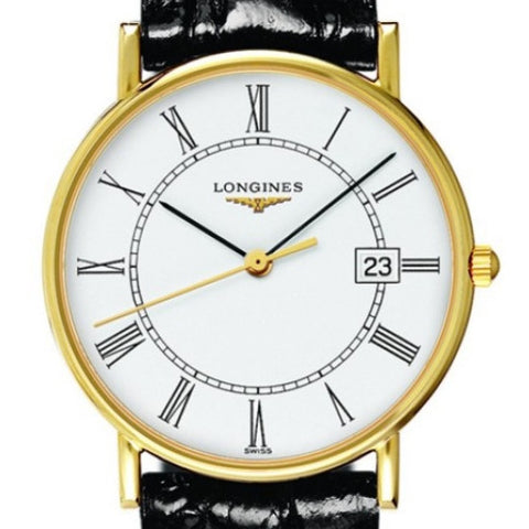 Longines Presence Roman Numerals 18k Gold Case Black Alligator Quartz Watch 33MM L47436110 stamford high ridge