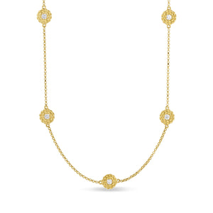 "Roberto Coin Diamonds by the Inch Barocco Station 9 Diamond 18"" Long Necklace Yellow Gold"