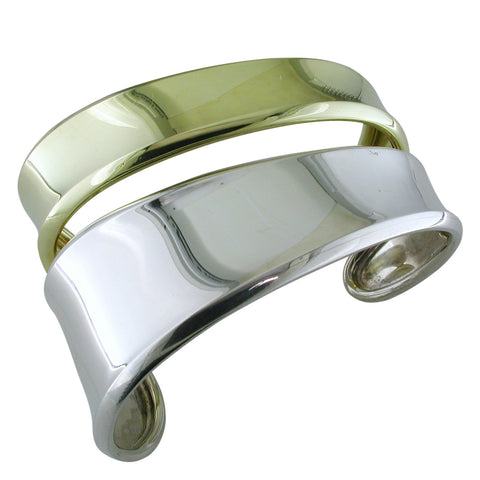 Robert Lee Morris Freeform Cuff Bracelet Sterling Silver & 18K Yellow Gold